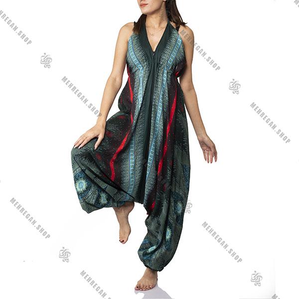 پیراهن زنانه بلند هندی نخی طرح گل فیروزه ای