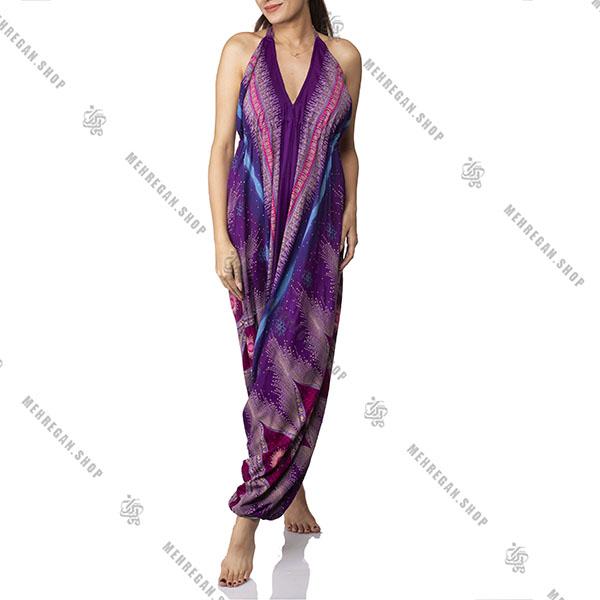 پیراهن زنانه بلند هندی نخی طرح گل صورتی