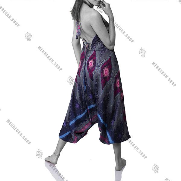 پیراهن زنانه بلند هندی سرمه ای گل صورتی