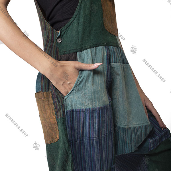 سرهمی سارافون جیب دار زنانه پایه رنگ سبز