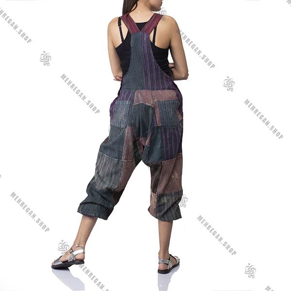 سرهمی سارافون زنانه جیب دار پایه رنگ قهوه ای