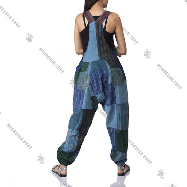 سارافون سرهمی زنانه جیب دار پایه رنگ آبی