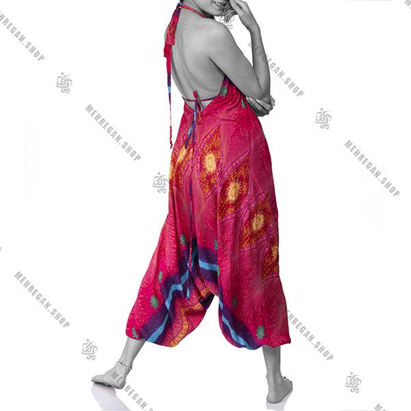 پیراهن زنانه بلند هندی نخی گل زرد
