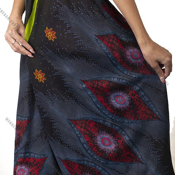 پیراهن زنانه بلند هندی نخی آبی نفتی