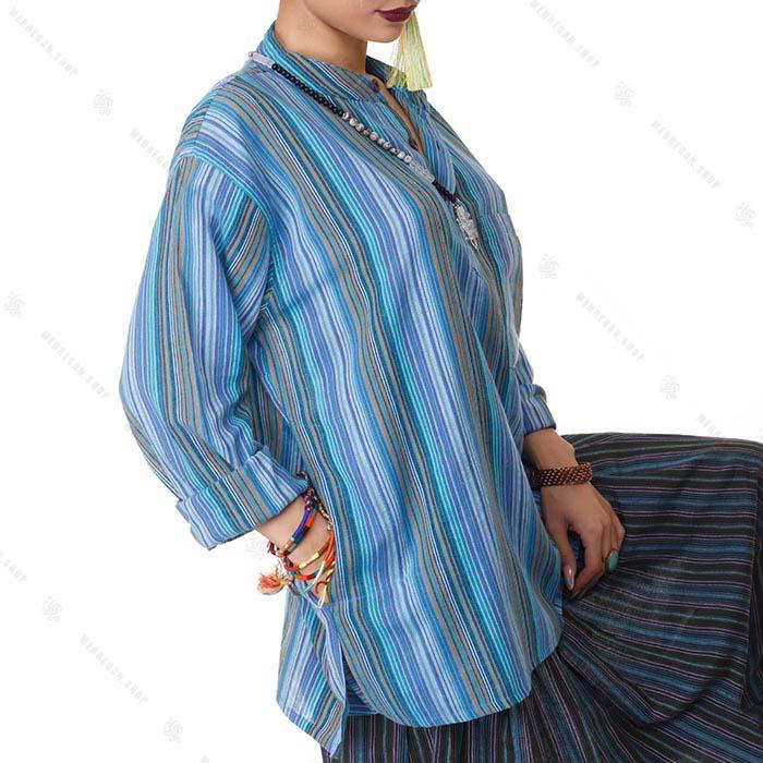 بلوز زنانه هیپی استایل آستین بلند آبی آسمانی