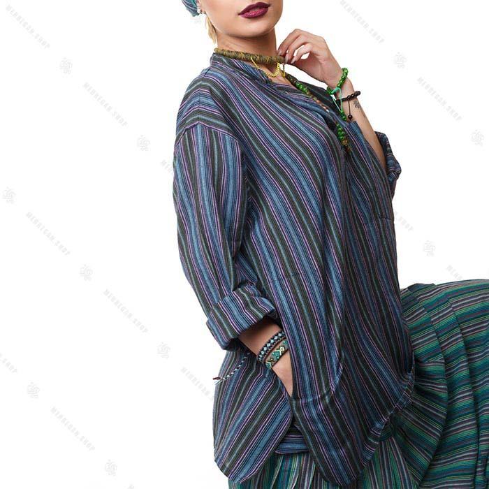 بلوز زنانه هیپی استایل آبی درباری آستین بلند