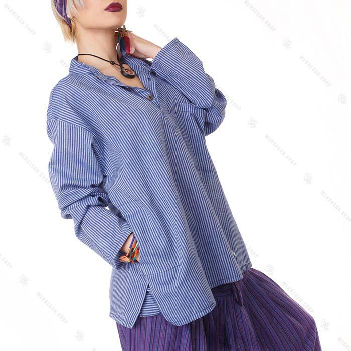بلوز زنانه هیپی استایل آستین بلند آبی دریایی
