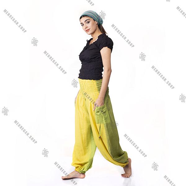 شلوار افغانی کمر کش زرد و سبز