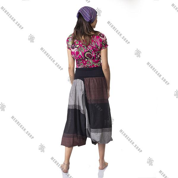 شلوار سنتی فری سایز نپالی جیب دار قهوه ای