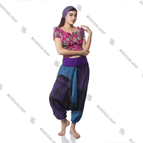 شلوار نپالی سبک و خنک جیب دار آبی بنفش
