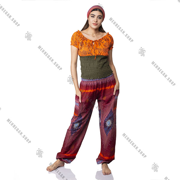 شلوار هندی فری سایز نازک قرمز