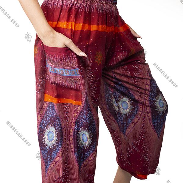 شلوار راحتی هندی فری سایز نازک قرمز