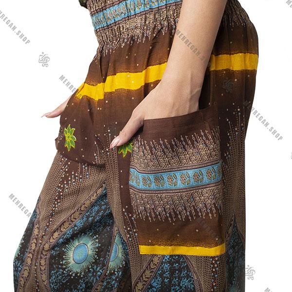 شلوار هندی فری سایز نازک قهوه ای