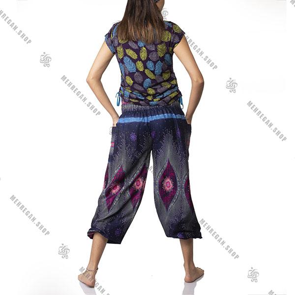 شلوار هندی فری سایز نازک سورمه ای