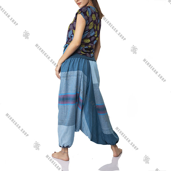 شلوار نپالی جیب دار فری سایز آبی