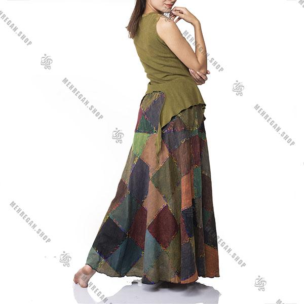 دامن چهل تیکه سنتی با دوخت کتان از رو