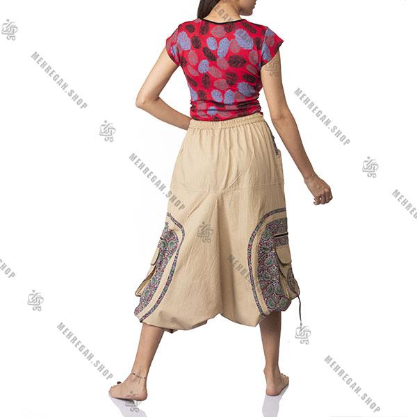 شلوار سنبادی نپالی کتان کرم