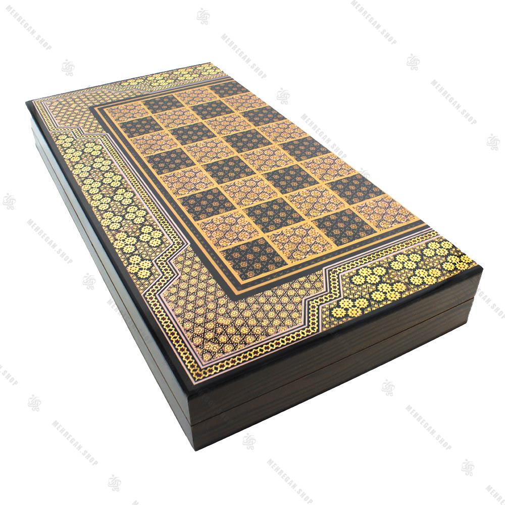 تخته نرد و صفحه شطرنج چوبی طرح خاتم کاری