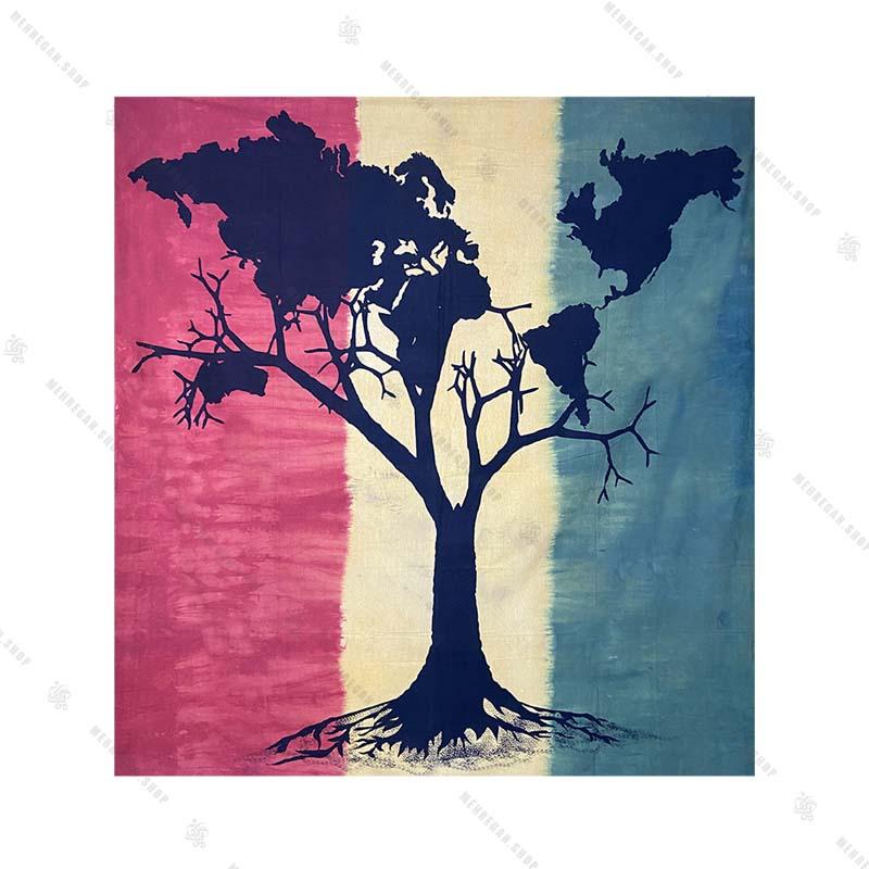 بک دراپ طرح درخت زندگی و نقشه جهان