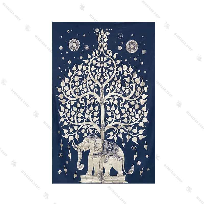 بک دراپ طرح درخت زندگی و فیل سرمه ای