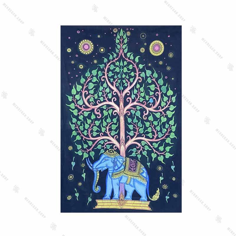 بک دراپ طرح فیل و درخت زندگی