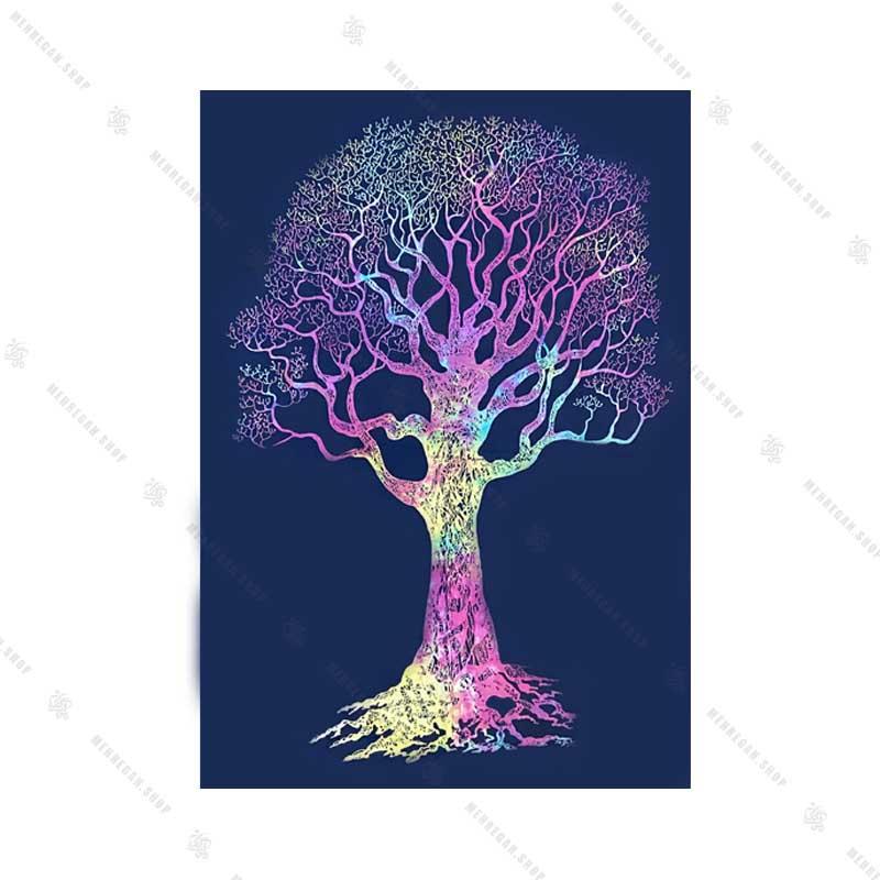 بک دراپ طرح درخت زندگی رنگین کمان
