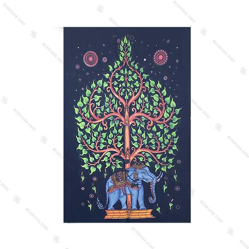 بک دراپ طرح درخت زندگی و فیل کوچک