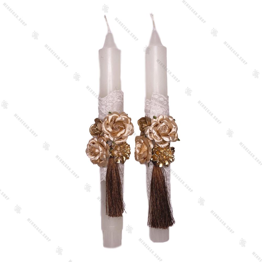 شمع جفت تزئین شده مدل قلمی طرح گل