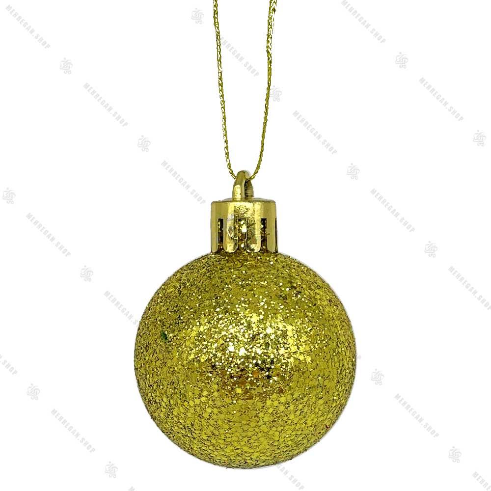آویز کریسمس طرح گوی زرد براق اکلیلی