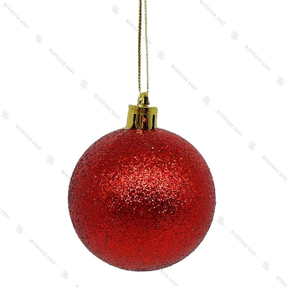 آویز کریسمس طرح گوی قرمز براق اکلیل برفی
