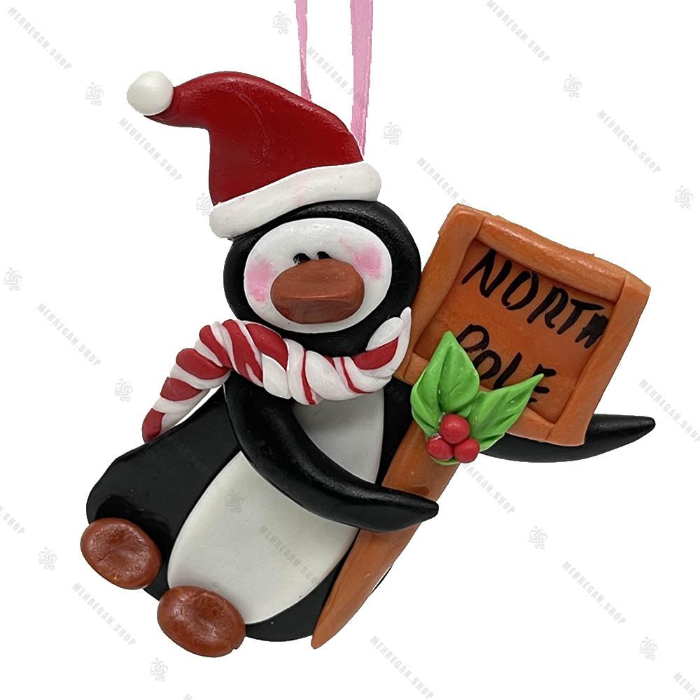 آویز دست ساز خمیری مدل پنگوئن