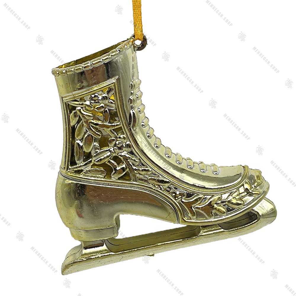 تک آویز کریسمس مدل کفش پاتیناژ طلایی