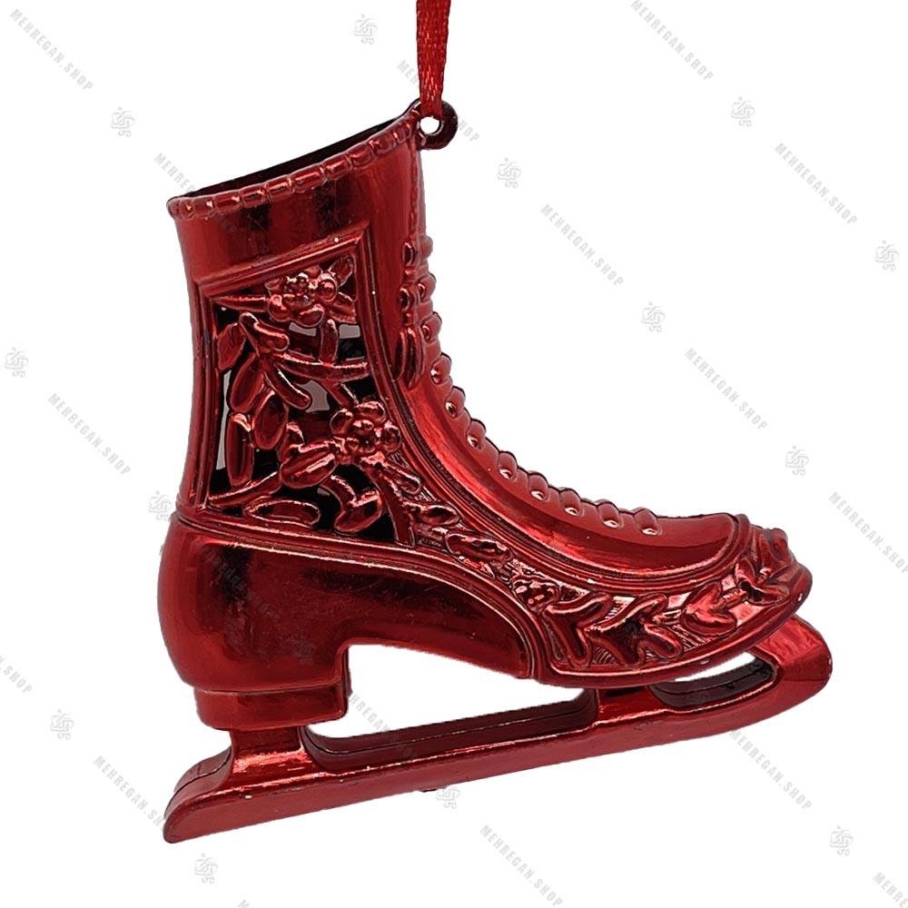 تک آویز کریسمس مدل کفش پاتیناژ قرمز