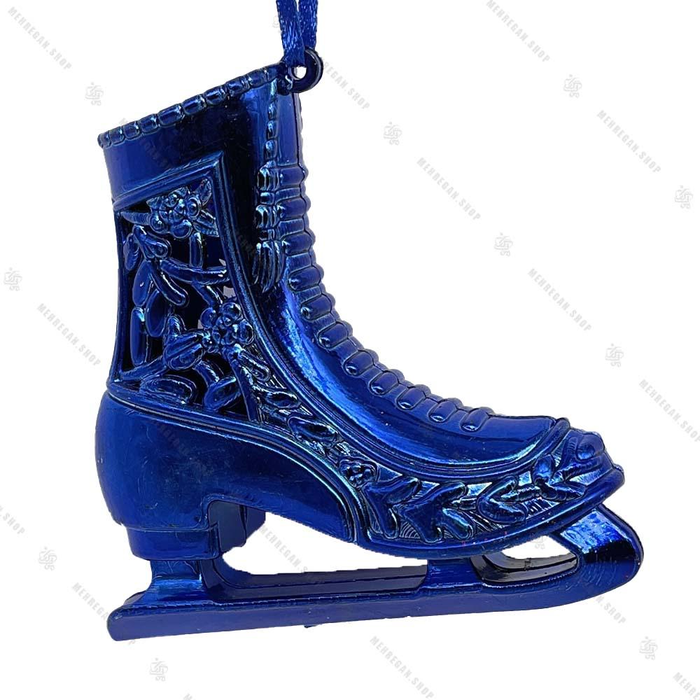 تک آویز کریسمس مدل کفش پاتیناژ آبی