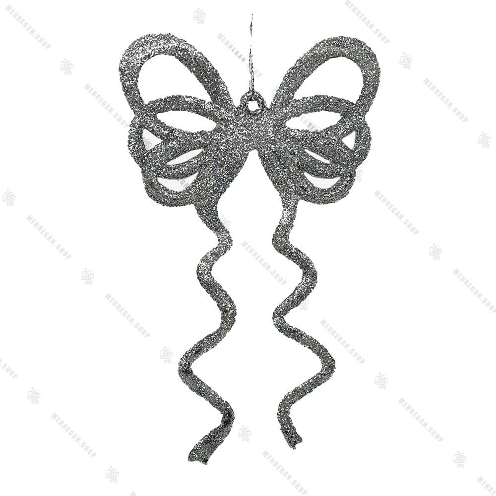 آویز کریسمس مدل پاپیون نقره ای اکلیلی