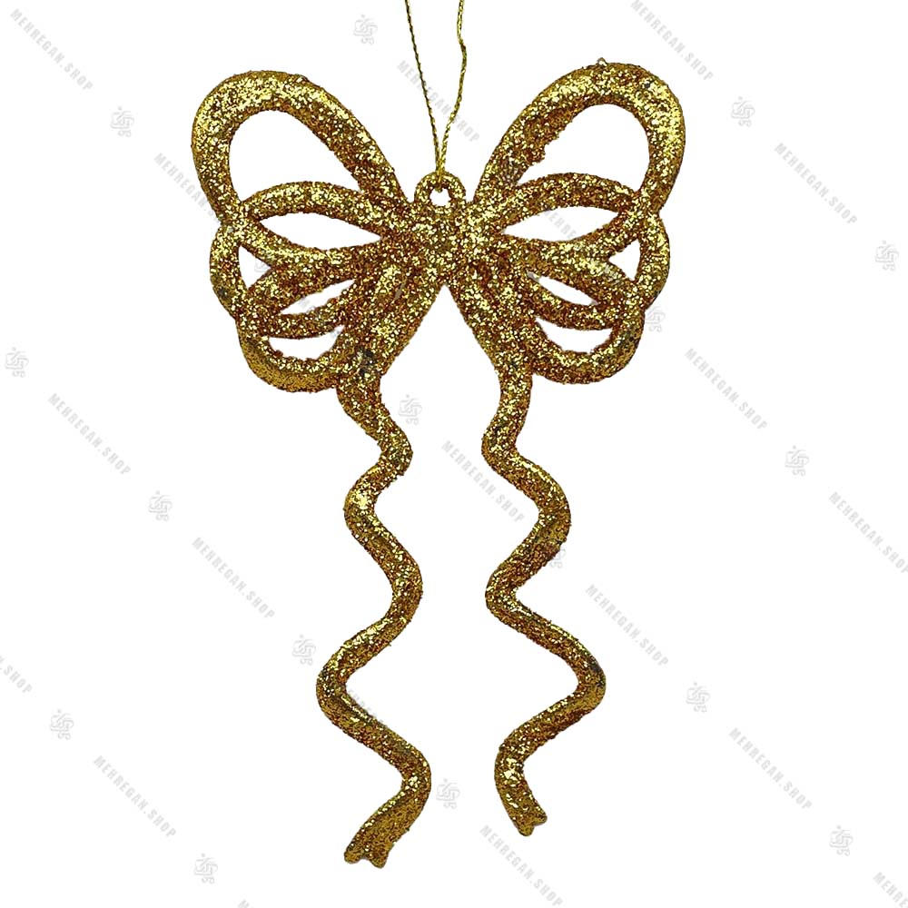 آویز کریسمس مدل پاپیون طلایی اکلیلی