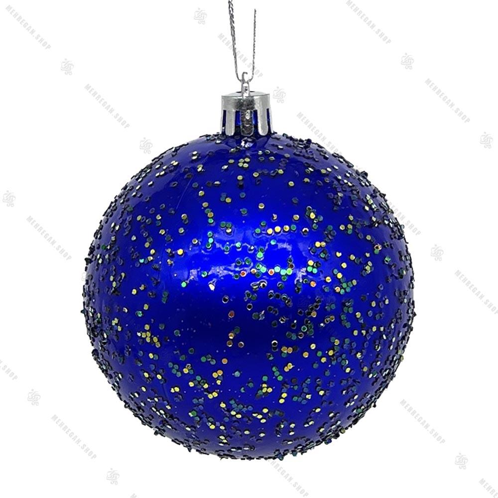 آویز کریسمس مدل گوی اکلیلی آبی کوچک