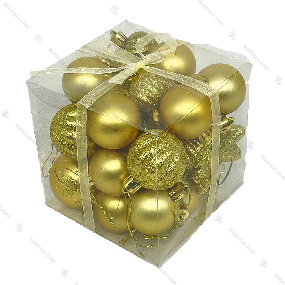 پکیج مربعی آویز کریسمس طلایی اکلیلی