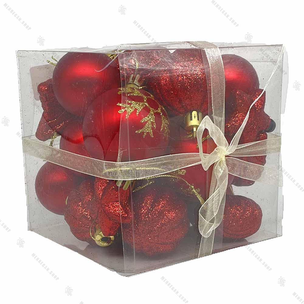 پکیج مربعی آویز کریسمس طرح دار قرمز اکلیلی