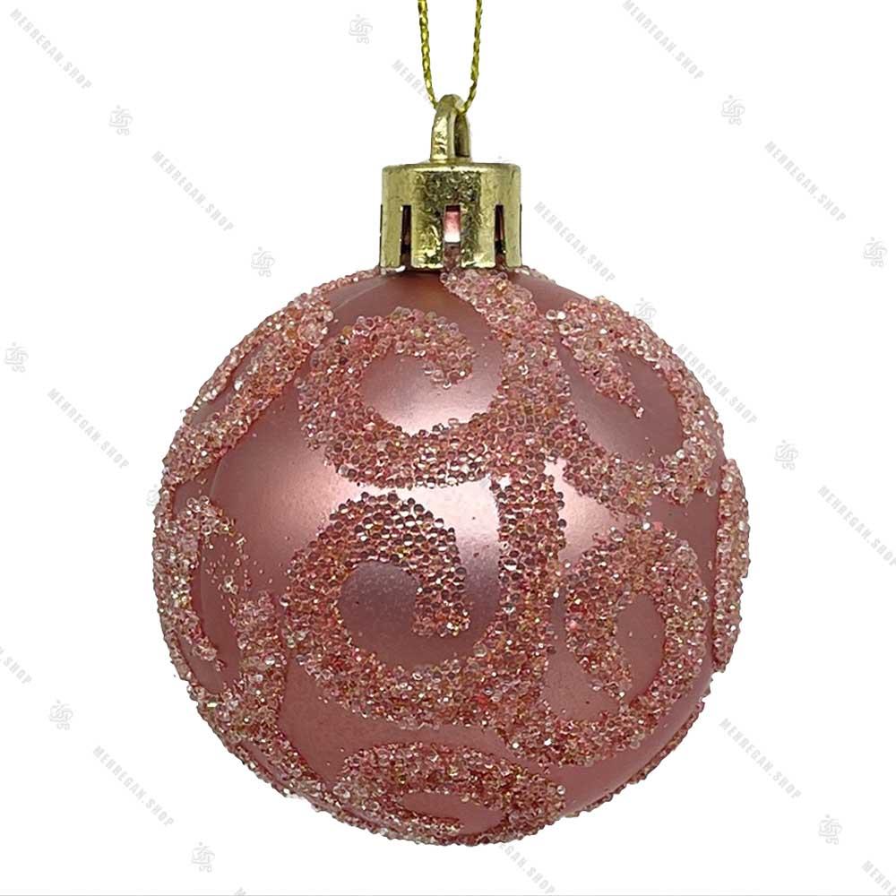 تک آویز کریسمس گوی طرح دار صورتی