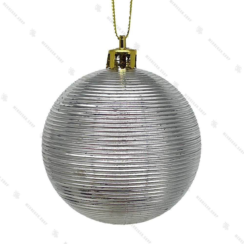 آویز کریسمس گوی مدل مومیایی نقره ای