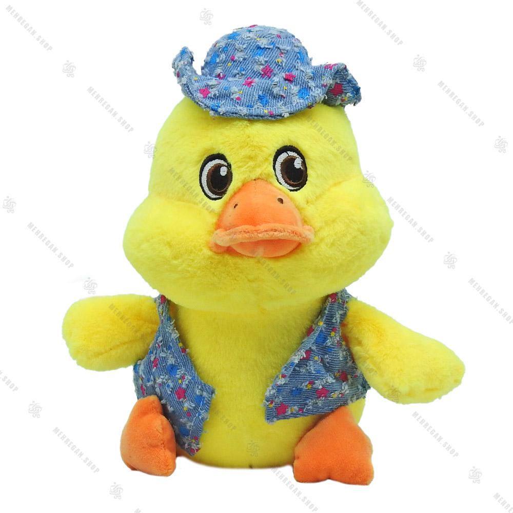 عروسک اردک طلایی مدل کلاه طرح دار