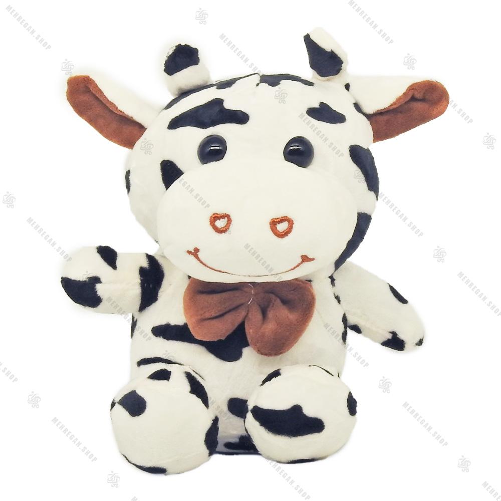 عروسک پولیشی گاو سیاه و سفید پاپیون دار