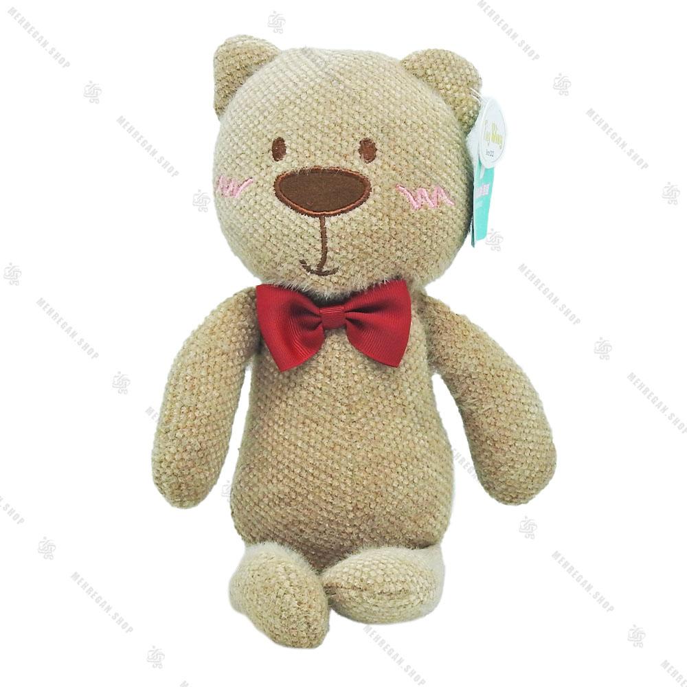 عروسک حوله ای خرس پاپیون دار قهوه ای