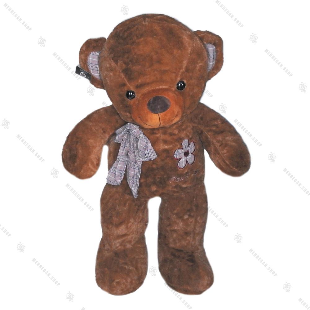 عروسک خرس پاپیون چارخونه قهوه ای