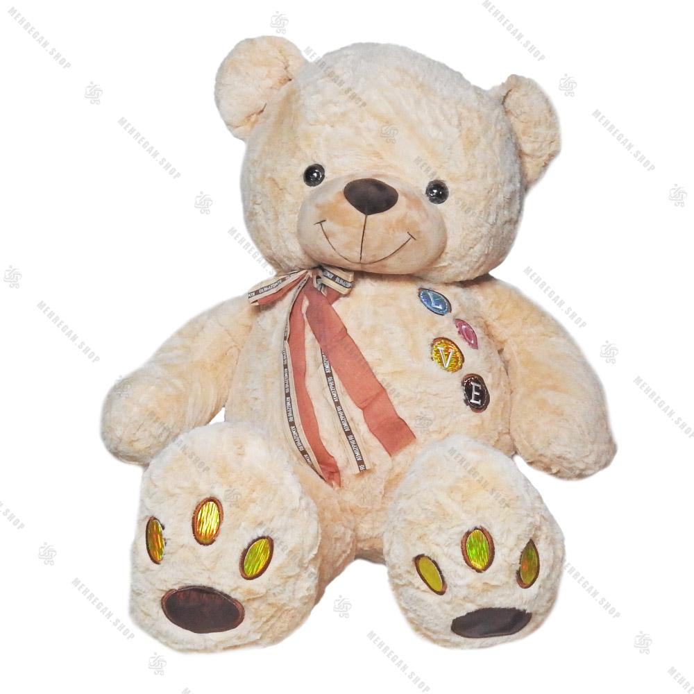 عروسک پولیشی خرس سایز بزرگ قهوه ای روشن