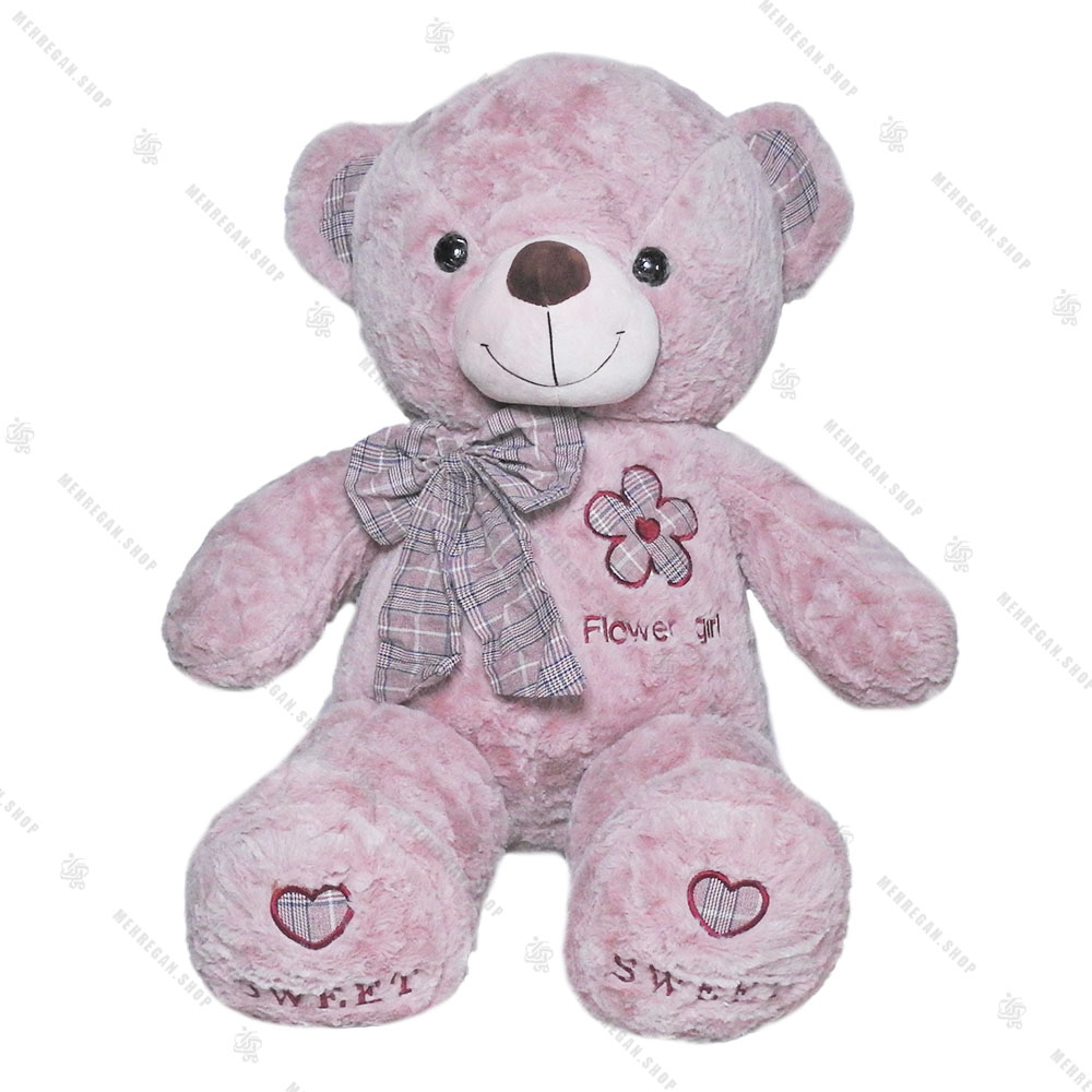 عروسک خرس پاپیون چارخونه بنفش