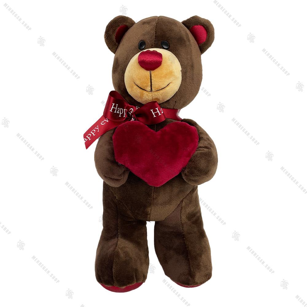 عروسک پولیشی خرس ایستاده با قلب بنفش