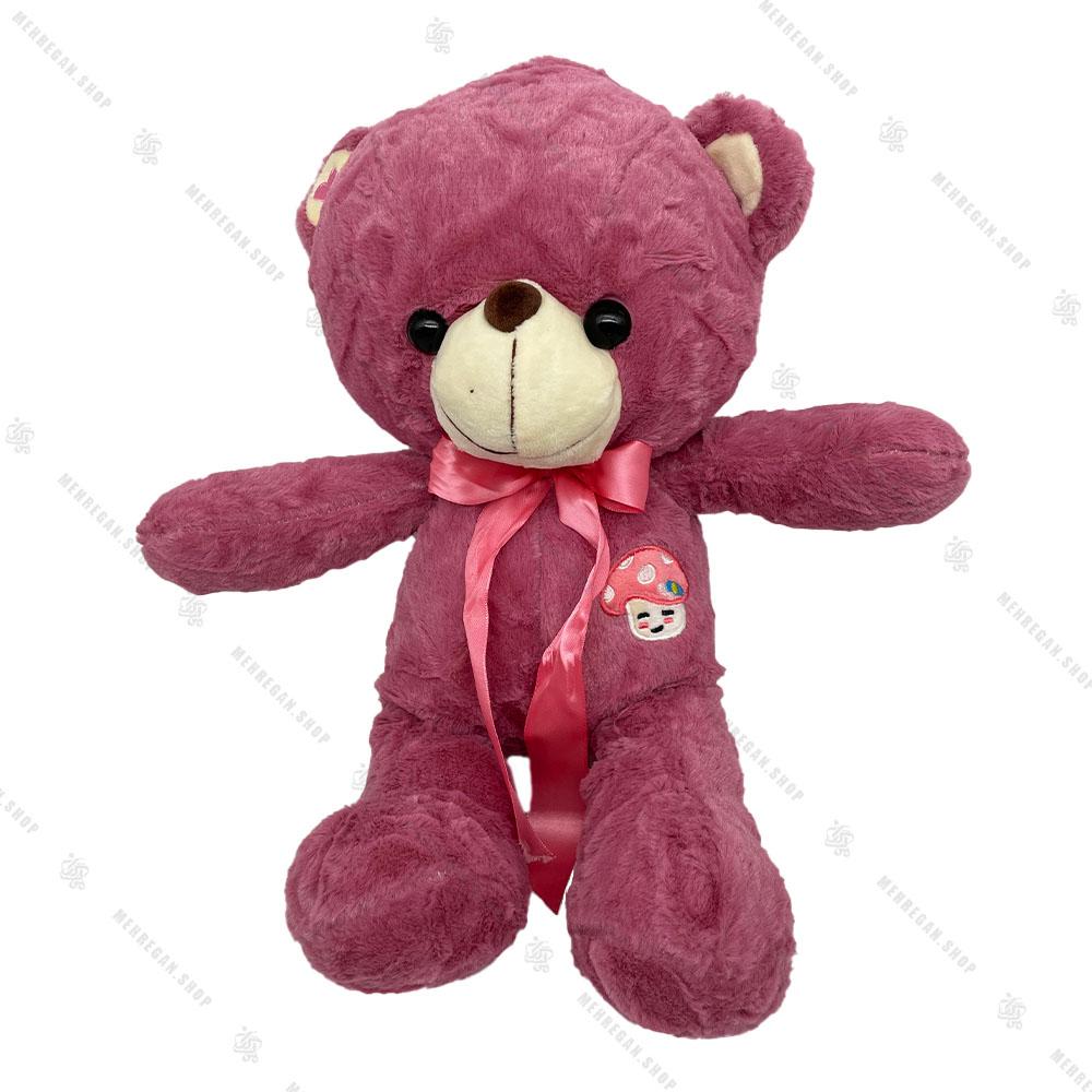 عروسک پولیشی خرس بنفش پاپیون دار