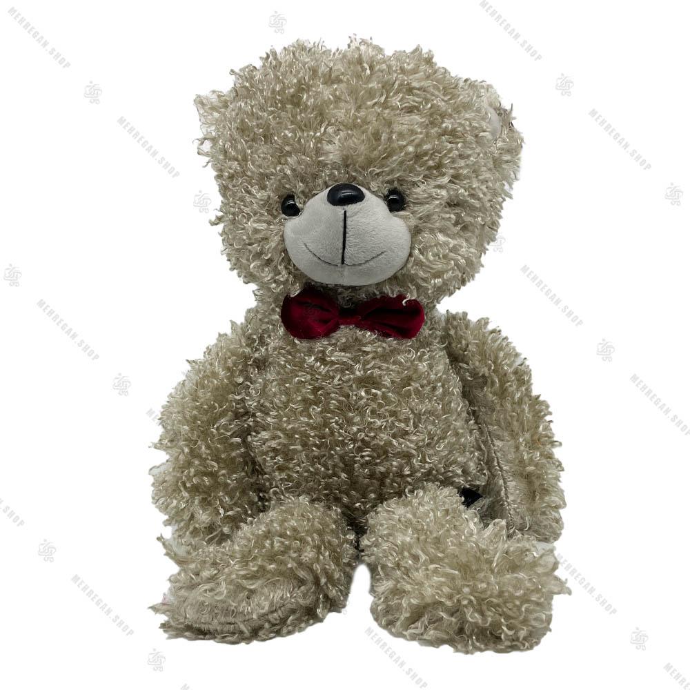عروسک خرس فرفری سفید پاپیون دار